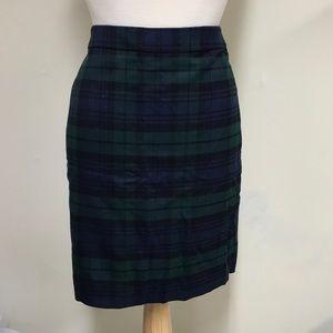 J. Crew Navy & Green Pencil Skirt